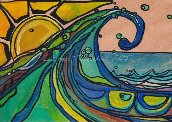 5x7 California Crest Greeting Card Waves and Sun by Lauren Tannehill ART