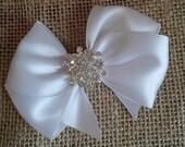 White Satin Hair Bow with Rhinestone Center, White Flower Girl Hair Bow, Holiday Hair Bow, Christmas Hair Bow, Pageant Bow, Sparkle hair Bow