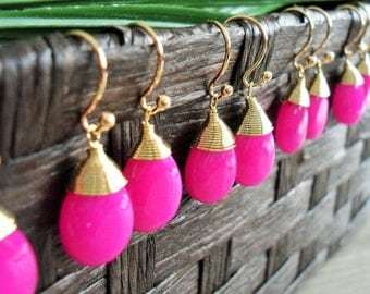 BRIDESMAID SET of 4 Pairs Wire Wrapped  Fuchsia Jade Drop EARRINGS  / Hot Pink / Semi Precious Stone / Gold / Dangle / Bridesmaid / Gift Box