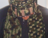 Camo and Tan Handmade Crochet Hat and Scarf Set---ORDERS ONLY---