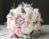 Fabric flower wedding bouquet with guinea feathers and rosettes . ivory, pink, gray feathers, lace . brooch bouquet with vintage style