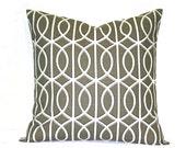 Grey pillow cover, taupe geometric pillow, contemporary pillow, Dwellstudio bella porte, charcoal
