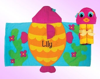 Hooded Beach Towel - Personalized and Embroidered - FISH