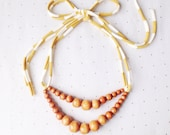 Double Strand Necklace in Hazelnut & Mustard Stripe . Non-toxic Beads with a Jersey Tie . Fashionable and baby-friendly