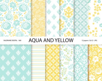 Digital Paper yellow and aqua blue scrapbook papers, floral and damask digital backgrounds,  12 jpg files 12x12 -  Pack 580