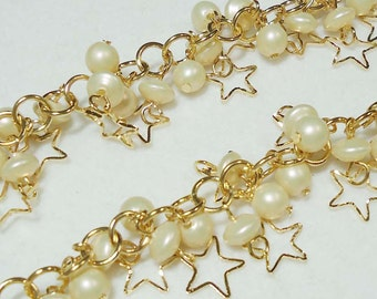 A-100. 20cm, Gold plated, Star & Pearl Charms Chain