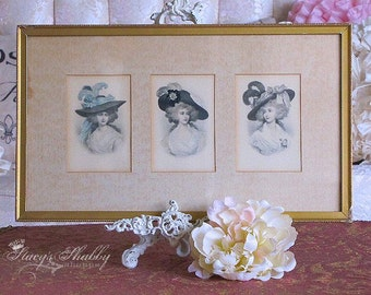 Beautiful Antique FRENCH LADIES Framed PRINT, Picture, Shabby Chic, Paris Apartment, Versailles