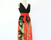60s Floral Maxi Dress, Black Red Poppy Boho Sundress lightweight sleeveless deep v plunging neckline oversized flower graphic Mad Men hippie