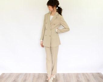 Khaki Armani Suit, 80s 90s Minimalist Khaki Double Breasted cropped ankle pants soft blazer jacket office designer Emporio Armani separates