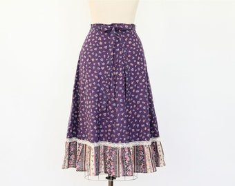 70s Peasant Skirt, Plum Purple Calico Cotton Floral Print Ruffle boho hippie lightweight a-line spring summer knee length petticoat