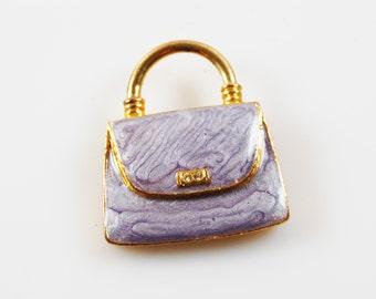 Vintage Lavender and Gold Tone Enamel Purse Brooch