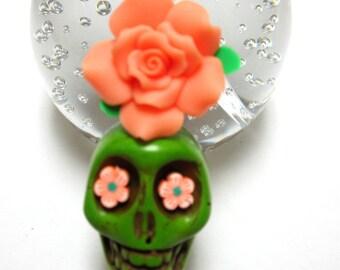 Big Daddy Green Skull Flower Keychain SugarSkull Key Ring Pendant