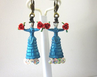 Frida Kahlo Earrings Turquoise Blue Dress Day of the Dead Jewelry Red Roses
