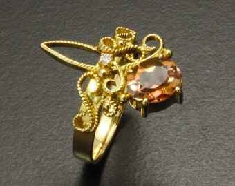 Victorian style 18K yellow gold filigree ring with Bicolor tourmaline