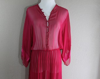 sheer pink vintage dress with pleated skirt- bohemian casual cute