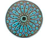 Garden decor // Ceramic tiles // Outdoor Wall Art // Yard art // Decorative wall tiles // Circle art // Moroccan #5 // 30cm // Turquoise
