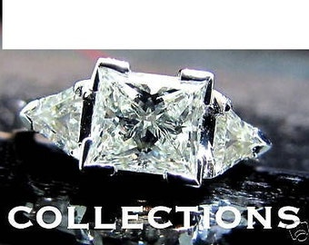 1.63CT Princess & Trilliants Diamond Ring Rare