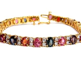 18.24CT Natural Vivid Colors Spinel Diamonds Tennis Bracelet 14KT