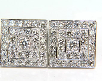3.50CT Art Deco Cluster Square Clip Earrings Bead Set
