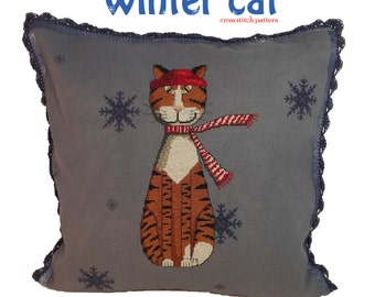 cross stitch pattern wintercat