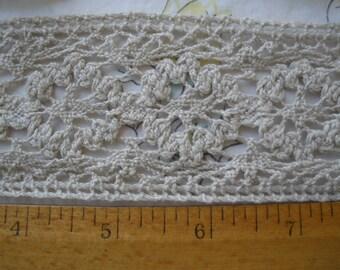 "Linen color Crochet Cotton Lace trim 2 1/8"" wide edging insert embellish retro choose yardage cluny hippie boho floral"