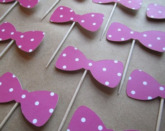 12 Bow Tie Cupcake Toppers - Polka Dot