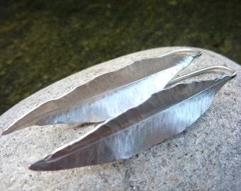 Handmade Silver Leaf Earrings.
