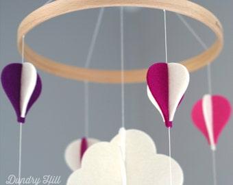 100% Merino Wool Felt Baby Mobile - Eco-Friendly - Rich, Lightfast Colors - Heirloom Quality - Purple, Pink, Fuchsia & White Hot Air Balloon