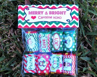 Personalized Christmas Bag Toppers, Tent Style Labels Printable - Merry & Bright Chevron