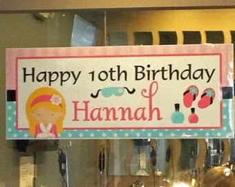 Spa Big Banner Printable - You Pick Hair Color/Style and Skin Tone - Spa Soiree Collection