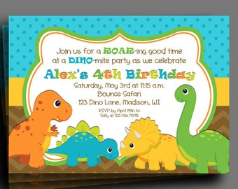 Dinosaur Invitation Printable or Printed with FREE SHIPPING - DINO-mite Collection