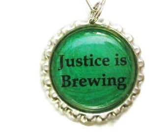 "Tea Infuser with Bottlecap Charm - 2"" Mesh Tea Ball - Justice is Brewing"