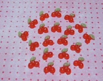 20 miniature cherries flatback cabochons tiny 7.5mm for nail deco decoden crafts miniature sweets