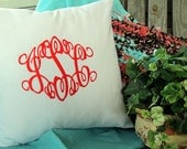 Monogram Pillow Cover Embroidered Pillow Sham 12x12 12x16 16x16 18x18 Wedding Anniversary Birthday Custom Embroidered Pillow Initial Pillow