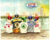 Boston Strong! - Matted Watercolor Print - 11x14