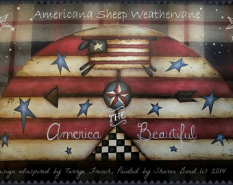 E PATTERN - Americana Sheep Weathervane - Prim Flag Background & Stars - Inspired by T. French - Painted by Sharon Bond - FAAP