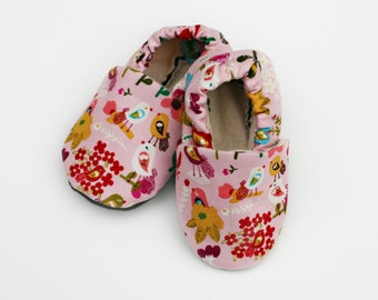 Little Bird Pink Baby Shoes- Sale - Eco Friendly Slippers 0 3 6 12 18 months - Baby Clothes Gift for Baby Birds and Flowers