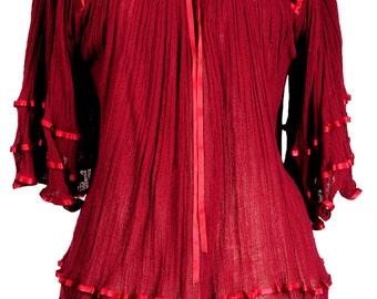 Gauze BATWING burgundy DOLMAN angel shirt