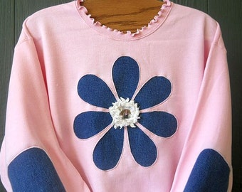 Lt Pink Daisy Sweatshirt Sizes S-5X Elbow Patches Womens Sweatshirt Reverse Applique Plus Size Clothing Upcycled Denim Recycled Jeans Flower