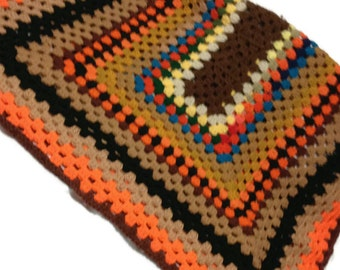 Crocheted Granny Afghan Boho Retro Fall Rich Colors Stash/Recycled Afghan Ready To Ship