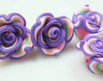 Polymer Clay Flowers-Purple & Pink