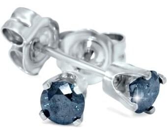 Blue Diamond .55CT Studs Round Brilliant Cut 14K White Gold Earrings