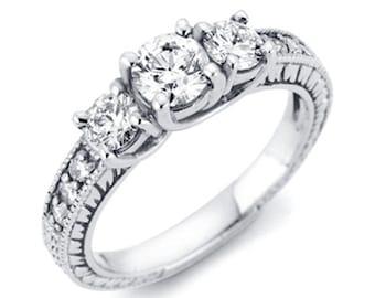 Vintage 1.75CT Three Stone Round Diamond Engagement Ring 14K White Gold
