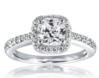 Cushion 1.28CT Halo GIA Certified Diamond Engagement Ring 14K White Gold Vintage Antique Style Size 4-9