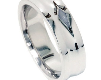 High Polished Hand Grooved Wedding Band 10K White Gold