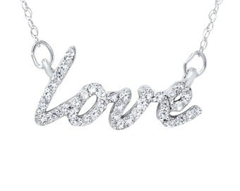 1/5 CT Love Symbol Diamond Pendant 14K White Gold