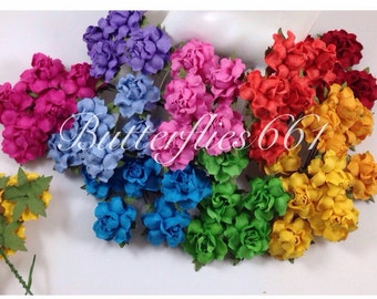 50 Handmade Mulberry Paper Flowers Rainbow  Wedding Roses Code SM - 427