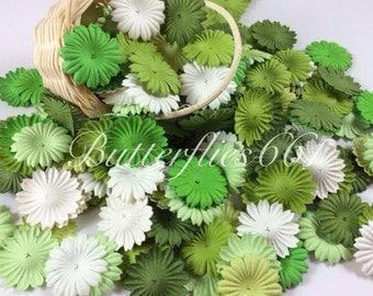 500 Mixed Green color Mini flat Handmade Scrapbook Paper Flowers  Code 839