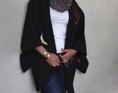 Vintage Silk Haori Jacket / Dressing Gown. Dark Brown / Black Japanese Vintage Kimono.  Abstract Geometric Print Pattern.