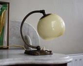 RESERVED // 1930s Art Deco Accent Lamp. Small Bedside Table Light with Cream Glass Lampshade, Dark Aged Brass Base.